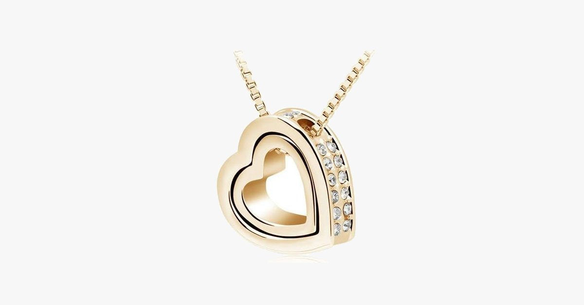 Double Heart Pendant - Yellow Gold - FREE SHIP DEALS