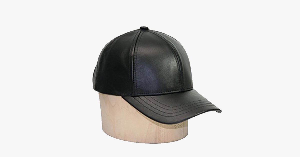 Black Leather Adjustable Baseball Cap - FREE SHIP DEALS