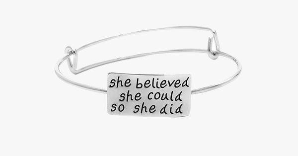 She Believed Adjustable Charm Bangle