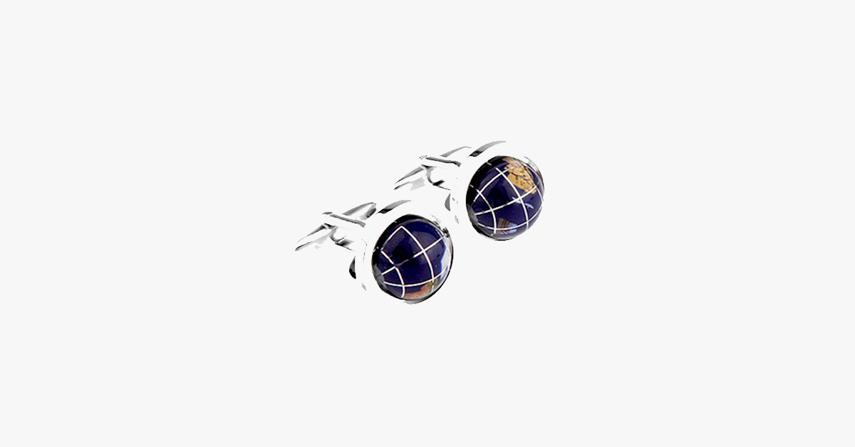 Exquisite Blue Rotating Globe Earth Shaped Cufflinks - FREE SHIP DEALS