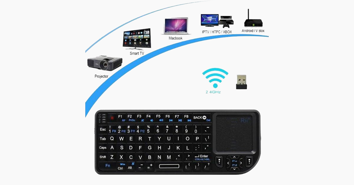 Mini Backlit Wireless Keyboard and Touchpad