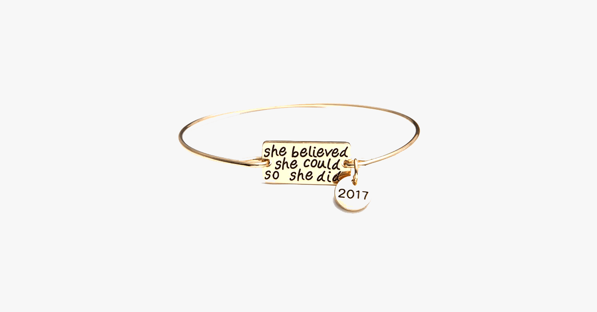 She Believed She Could So She Did Bangle With 2017 Charm