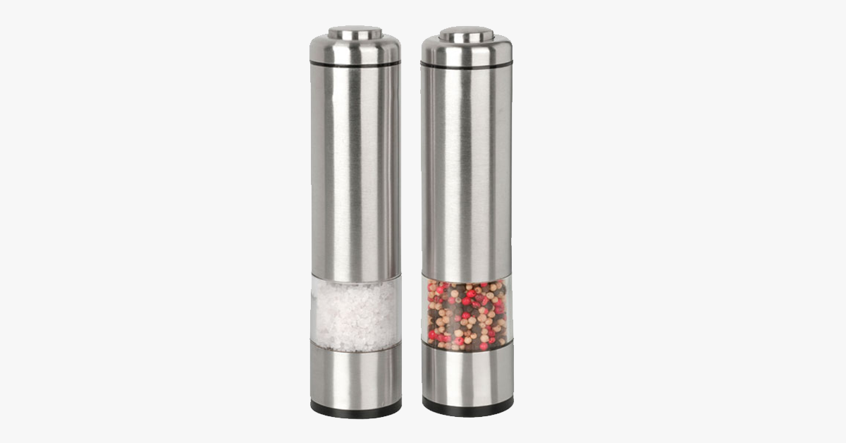 Pair of Brushed Stainless Steel Electric Grinders - Salt & Pepper - FREE SHIP DEALS