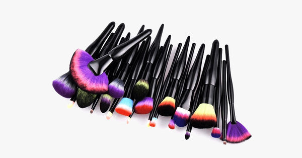 Midnight Rainbow Makeup Brush Set of 22 - Add a Pop of Color to Your Vanity