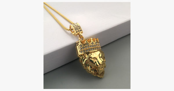 Crown Lion King Pendant Necklace - FREE SHIP DEALS