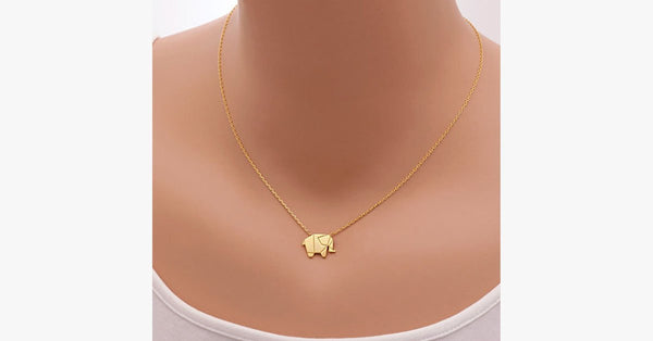 Geometric Origami Elephant Necklace - FREE SHIP DEALS