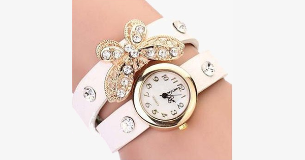 Butterfly Diamond Leather Watch - FREE SHIP DEALS