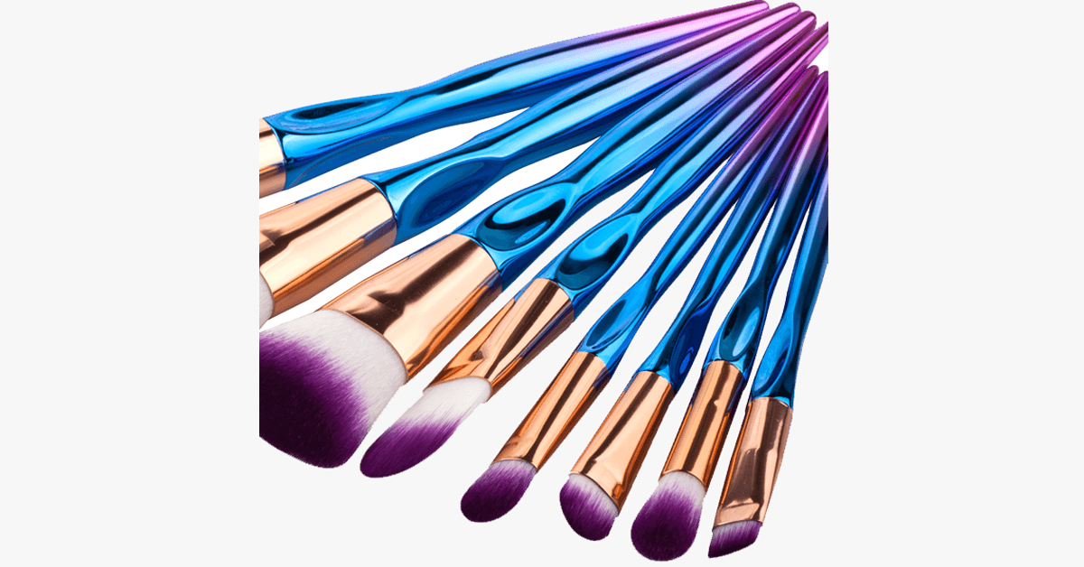 8 Piece Rainbow Mermaid Brush Set - FREE SHIP DEALS