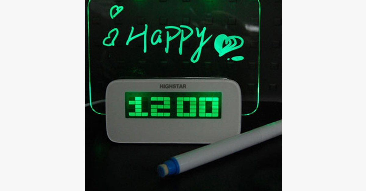 LED Fluorescent Message Board Digital Alarm Clock with 4 Port USB Hub - FREE SHIP DEALS