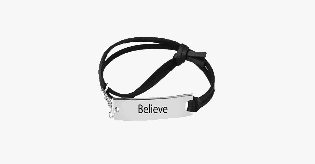 Believe Leather Strap Bracelet - FREE SHIP DEALS