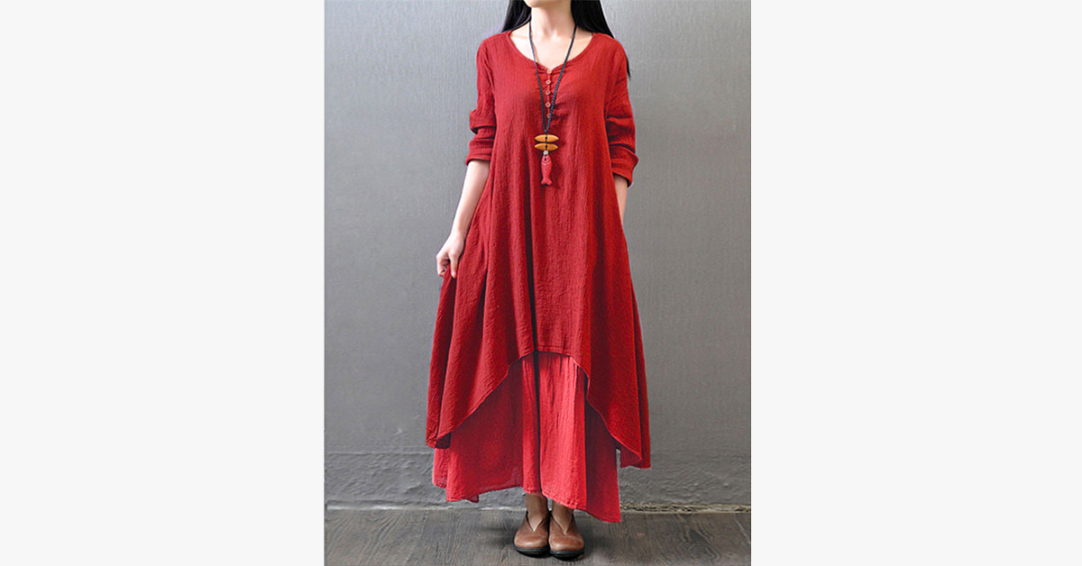 Woman Maxi Irregular Dress Vintage