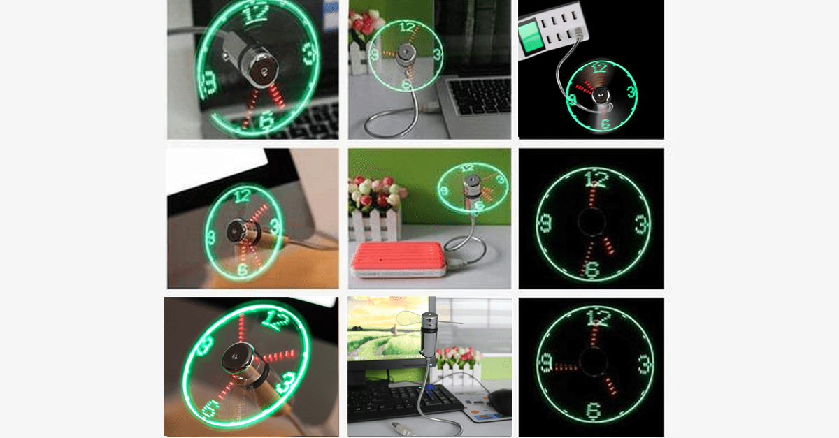 2-in-1 LED Light USB Fan and Clock - FREE SHIP DEALS
