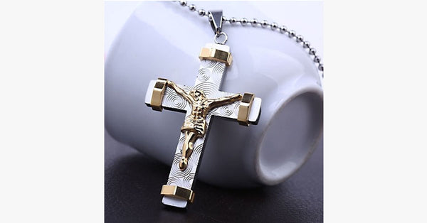 24K Gold Plated Two Tone Cross Pendant - FREE SHIP DEALS