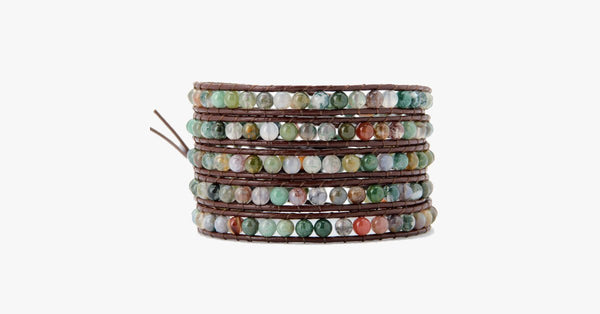 4MM  India Agate Stone Wrap Bracelet - FREE SHIP DEALS