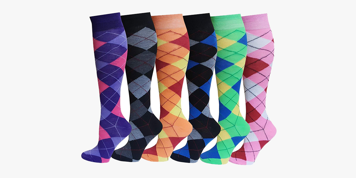 Multi Colorful Patterned Knee High Socks For Women