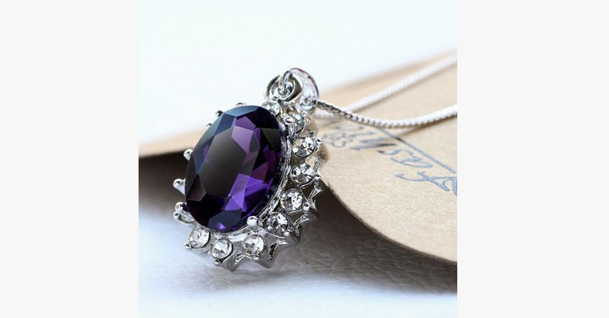 3 Carat Handcrafted Alexandrite Pendant with Silver Plated Chain - FREE SHIP DEALS