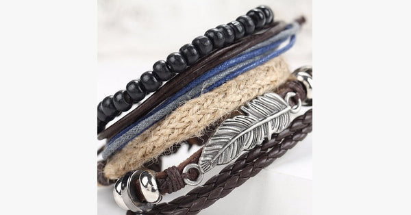 4 Pcs Multi-Layer Beads Leather Bracelet - FREE SHIP DEALS