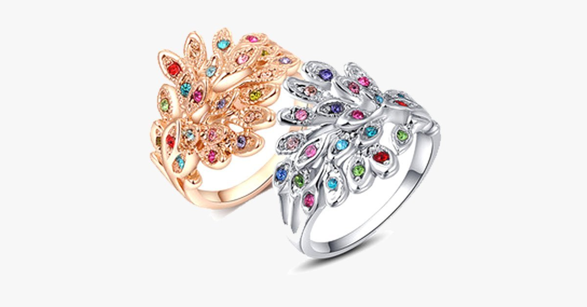Austrian Crystal Peacock Ring - FREE SHIP DEALS