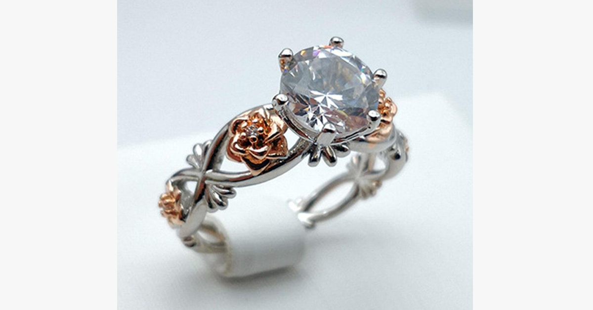 Floral Carved Crystal Ring 6