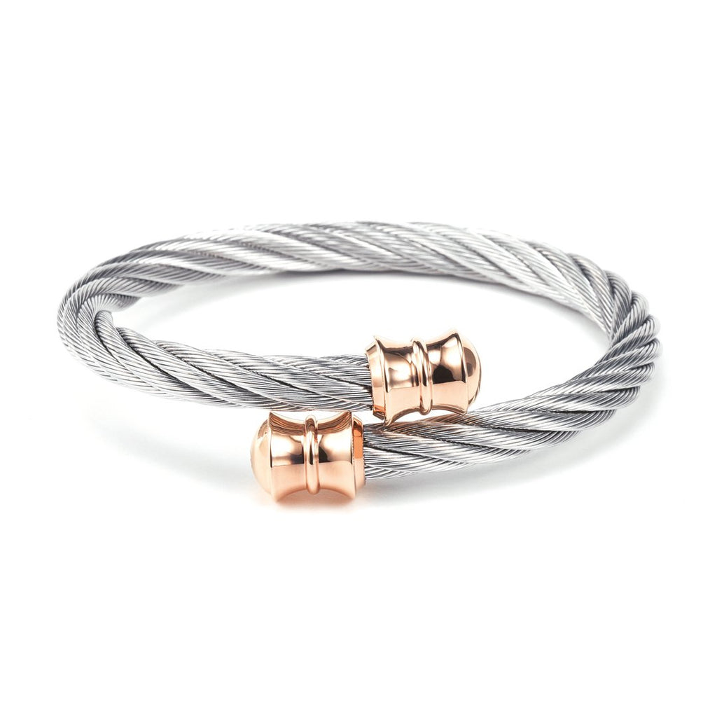 Celtic-Stainless-steel-bangle-with-rose-gold-PVD-cable-(6mm)-Size-L
