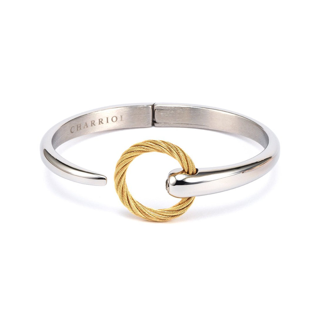 Zen-Stainless-steel-bangle-with-White-Topaz-Stainless-steel-yellow-gold-PVD-cable-(3mm)-White-Topaz:-Size-L