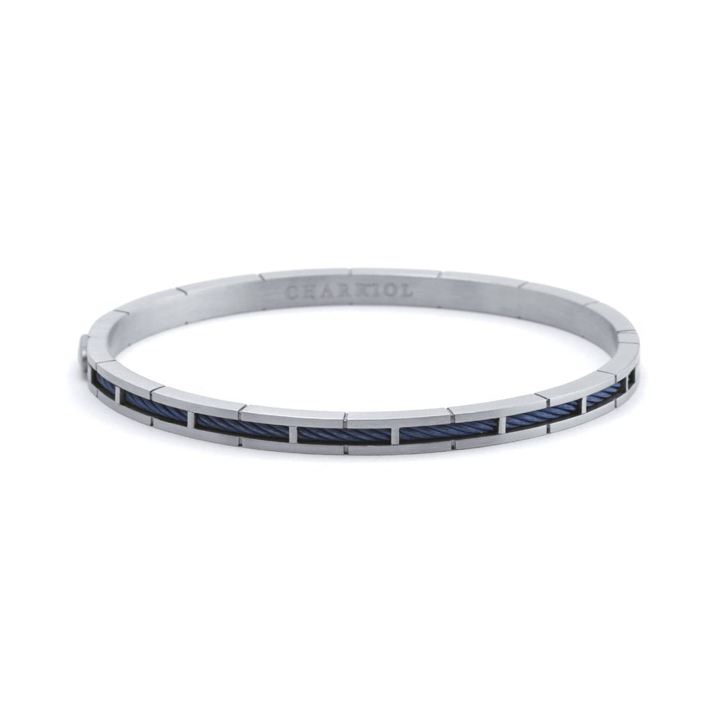 Forever-Stainless-steel-bangle-Stainless-steel-blue-PVD-cable-(2mm)-Size-S-