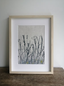 'Blue Night Meadow I' Irish Linen Original