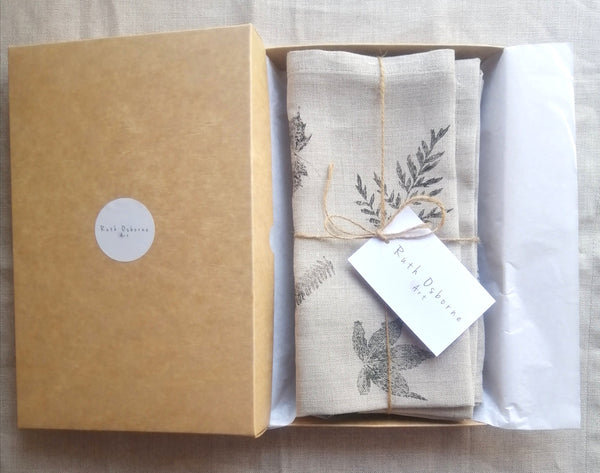 Hand Printed Irish Linen Napkin Set