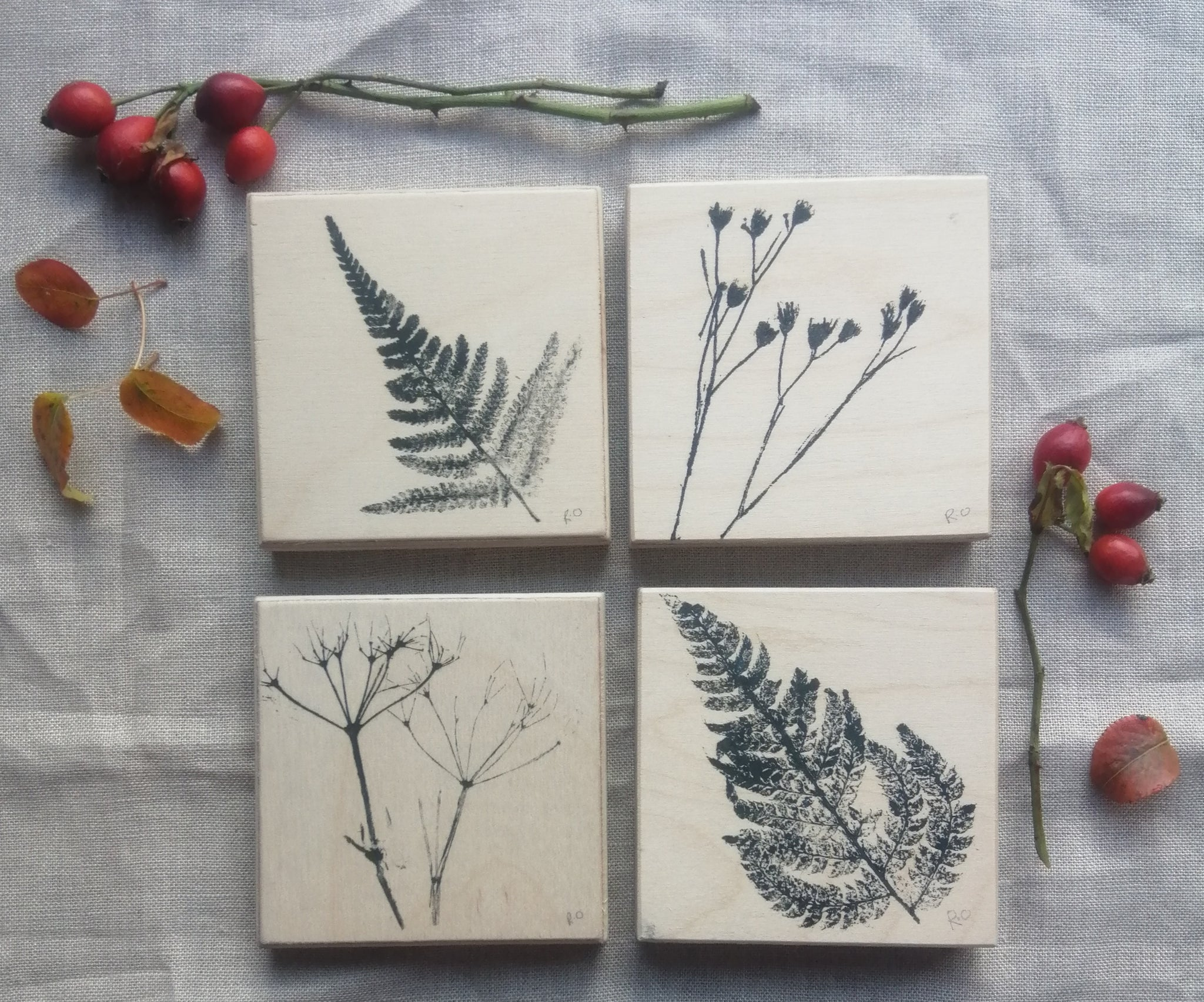 Woodland printed Birch Blocks