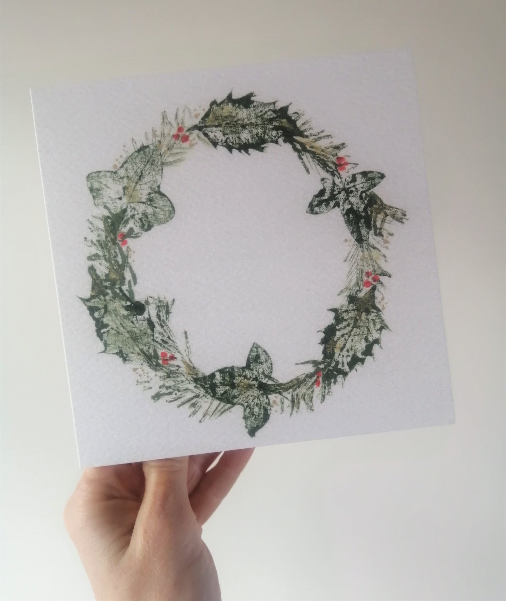 Christmas Woodland Wreath Art Greetings Card/Set of Cards