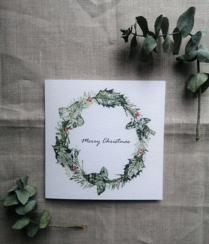Christmas Woodland Wreath Art Greetings Card with text/Set of cards