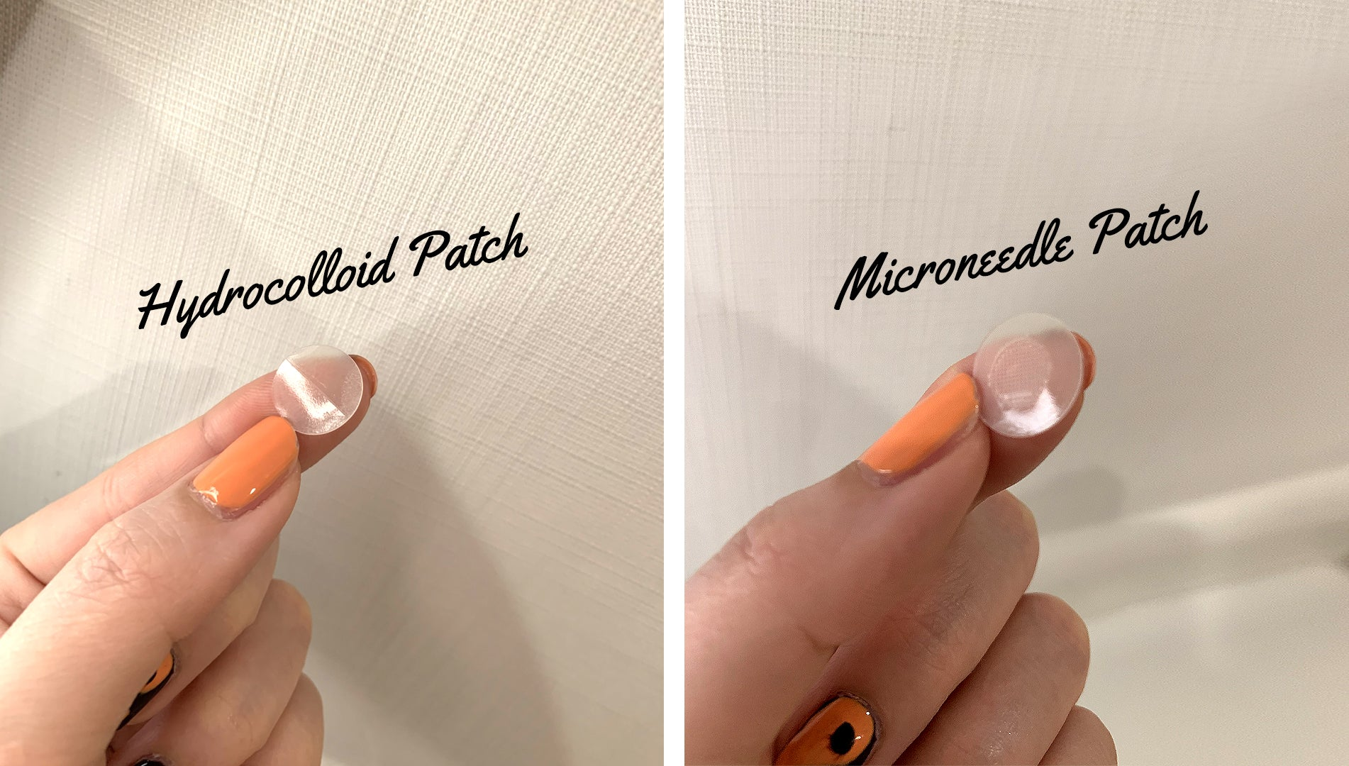 hydrocolloid and microneedle patch on a fingertip