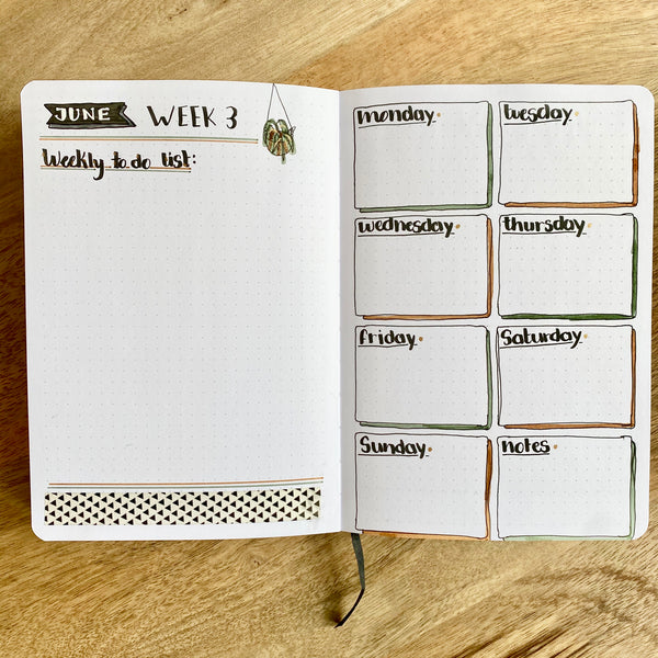 Weekly spreads for your bullet journal