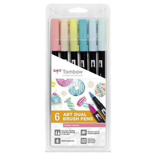 Tombow ABT Dual Brush Pen - pack of 6 (various colours)