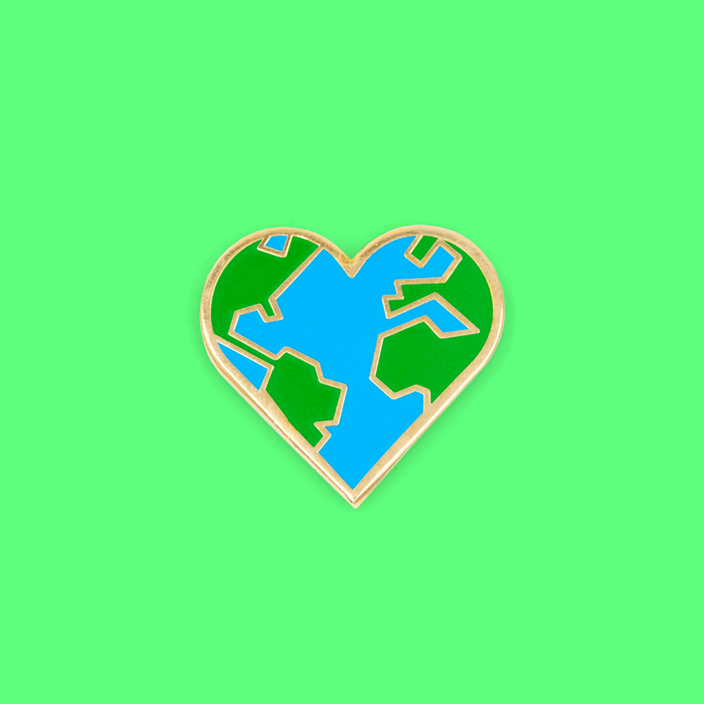 Heart Earth Enamel Pin