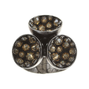 Konplott Ring Orchid Hybrid beige crystal golden shadow silber