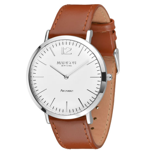 MADISON NEW YORK Herren Uhr Armbanduhr Avenue Leder G4741E