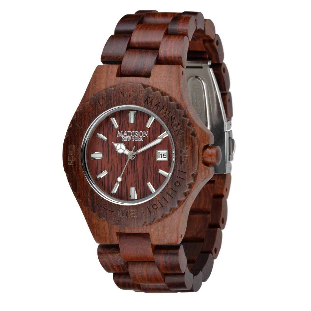 Madison New York Unisex Uhr Armbanduhr Holzuhr G4542C
