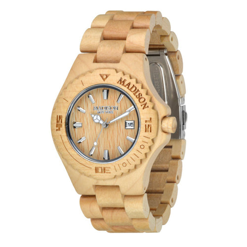 Madison New York Unisex Uhr Armbanduhr Holzuhr G4542F