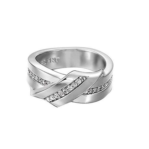 Esprit Damen Ring Silber Double Twiddle Zirkonia ESRG91717A1