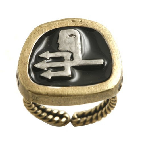 Konplott Ring Zodiac Aquarlus/Wassermann black antique brass