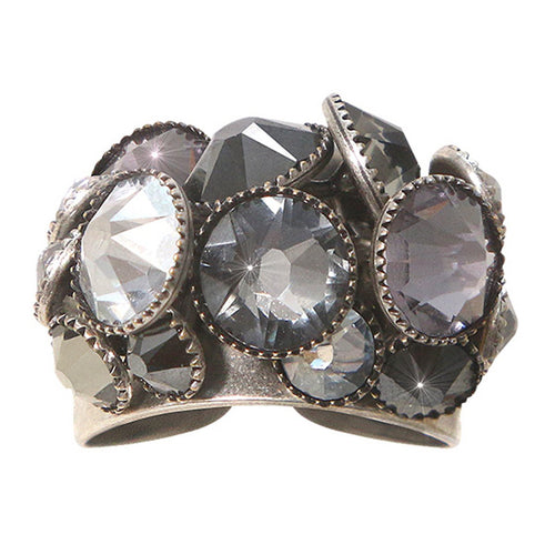 Konplott Ring Waterfalls grey antique silber