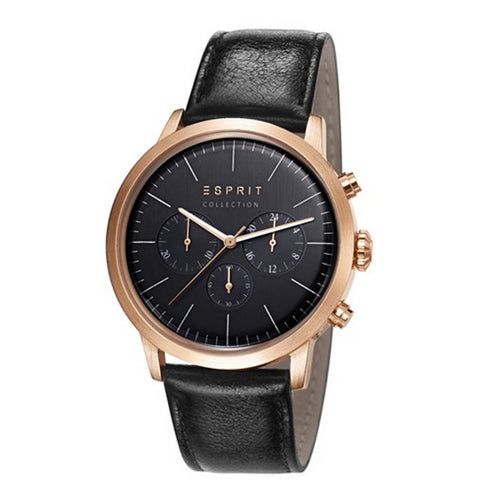 Esprit Collection Herren Uhr Armbanduhr Chrono Soter Rosé Leder EL102191004