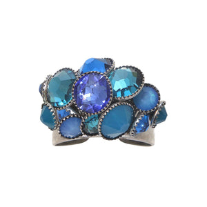 Konplott Ring Waterfalls blue antique silber