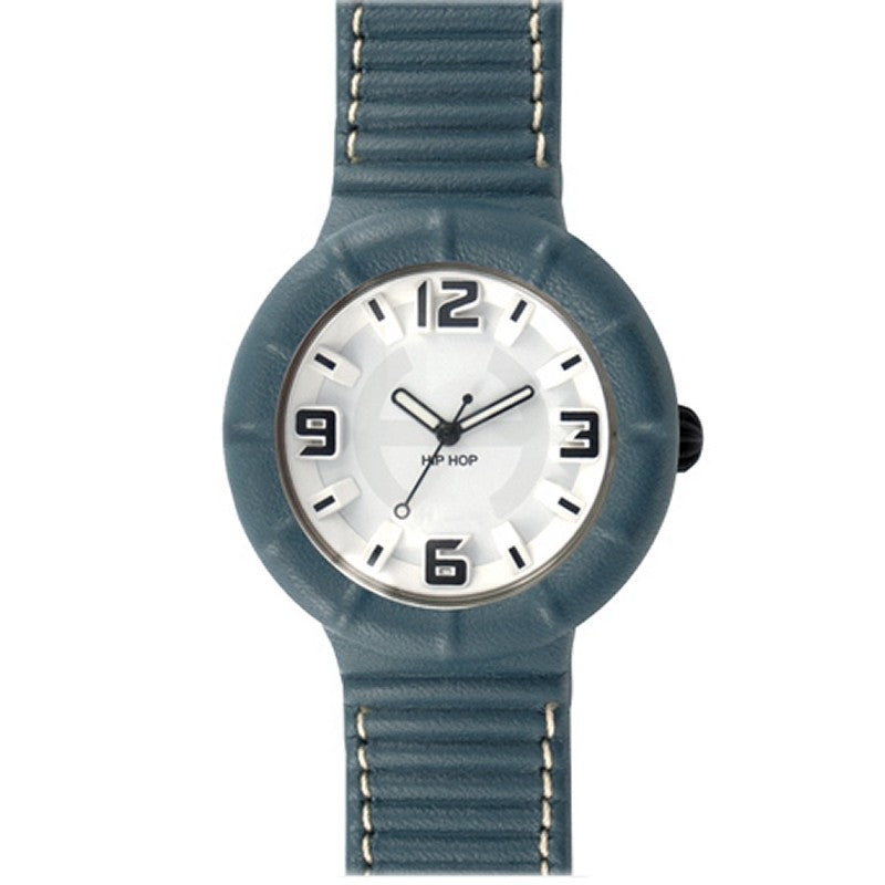 Hip Hop Uhr Silikonuhr leather large HWU0210 blue pacifico