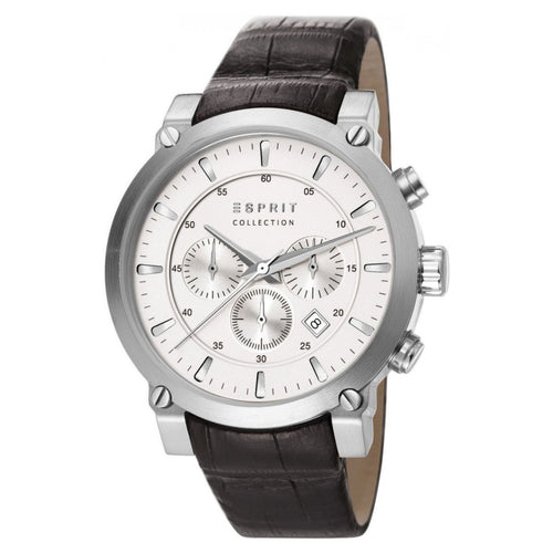 Esprit Collection Herren Uhr Armbanduhr Chrono Poros Leder EL102121F04