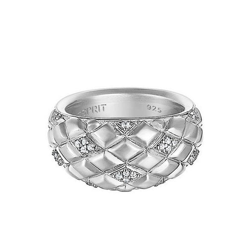 Esprit Damen Ring Silber Lattice Glam Zirkonia ESRG91949A1