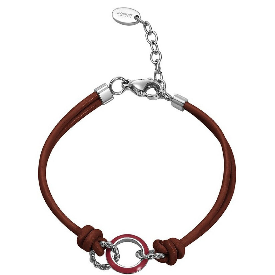 Esprit Damen Armband Edelstahl Leder dark red & light MARIN 68 mix ESBR11587E170