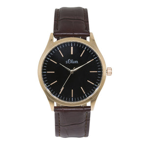 s.Oliver Herren-Armbanduhr Analog Quarz Leder IP Gold SO-15145-LQR