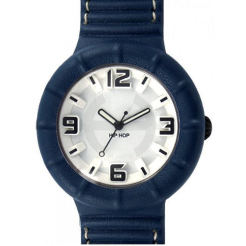 Hip Hop Uhr Silikonuhr leather large HWU0209 blue navy